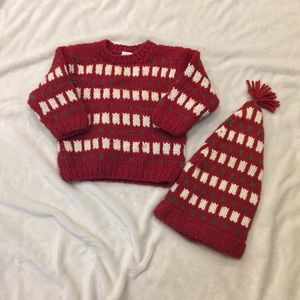 Gap Holiday sweater with match. Hat size 12-18 mon